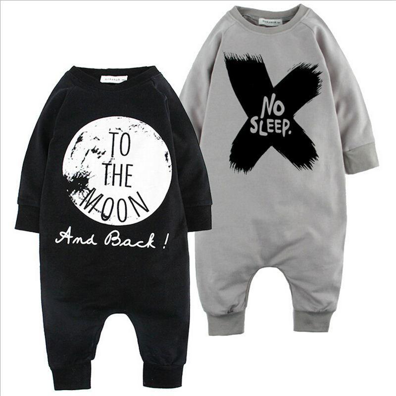 0-2 лет ребенок зима младенческой полный рукав ползунки крест письмо не спать / на Луну печати досуг с длинным рукавом цельный