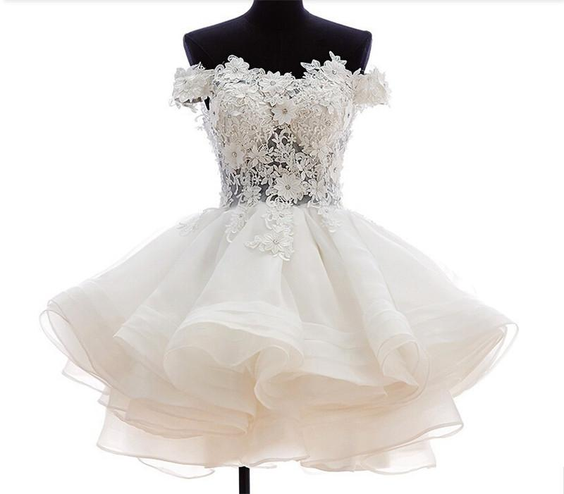 Vestido de gala Vestidos de novia cortos Nueva llegada de Organza W1494 Apliques hechos a mano de cristal US $ 4 6 8 10 12 14 16 18 ++ Niveles de moda