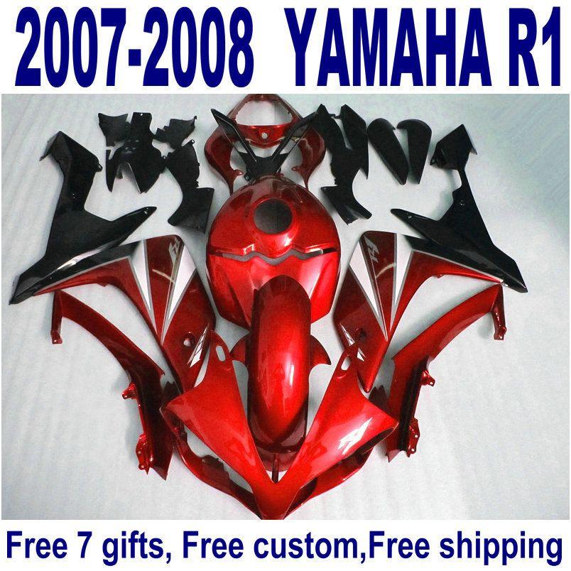 NUEVOS carenados para los kits de carenado YAMAHA YZF R1 2007 2008 rojo negro motocicleta YZF-R1 07 08 ER13 + 7 regalos