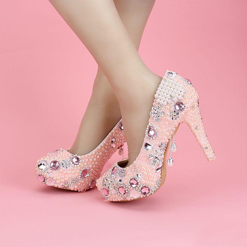 Women Pink Elegant Fashion Crystal Pearl Tassel Diamond High Heel Pumps Platform Wedding Shoes For Bride Girl Formal Dress Shoes