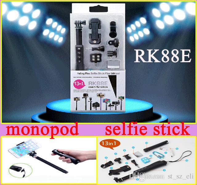 13in1 Bluetooth Özçekim kitleri RK88E Bluetooth Özçekim Sopa RK 88E akıllı telefonlar ile Bluetooth monopod LED Flaş geniş açı lens için mobilephone