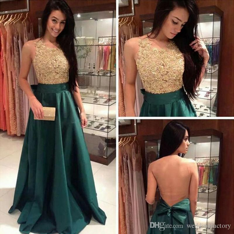 Arabic Prom Dresses Long Formal Evening Party Gowns A Line Jewel Neck Sleeveless Sheer Tulle Back Lace Appliqued Top Prom Dress with Bow