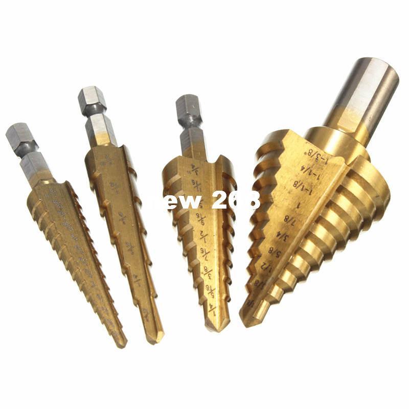 Hand Tools 4 PC HSS Titanium Coated Step Drill Bits Set SAE Sizes Bits ,Shank 1/4 inch 3/8inch tools knife dremel