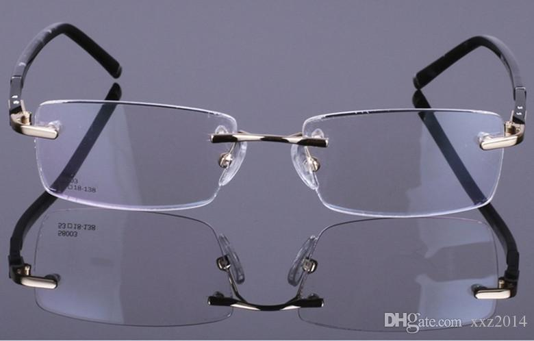 Fashion and contracted super light optical myopia rimless rectangular frame with plank legs style three colors eyeglasses for men 58003