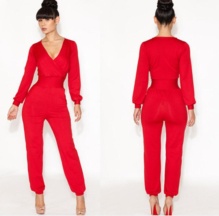 Bodycon Jumpsuits Rompers For Women Deep V Neck Long Sleeve ...