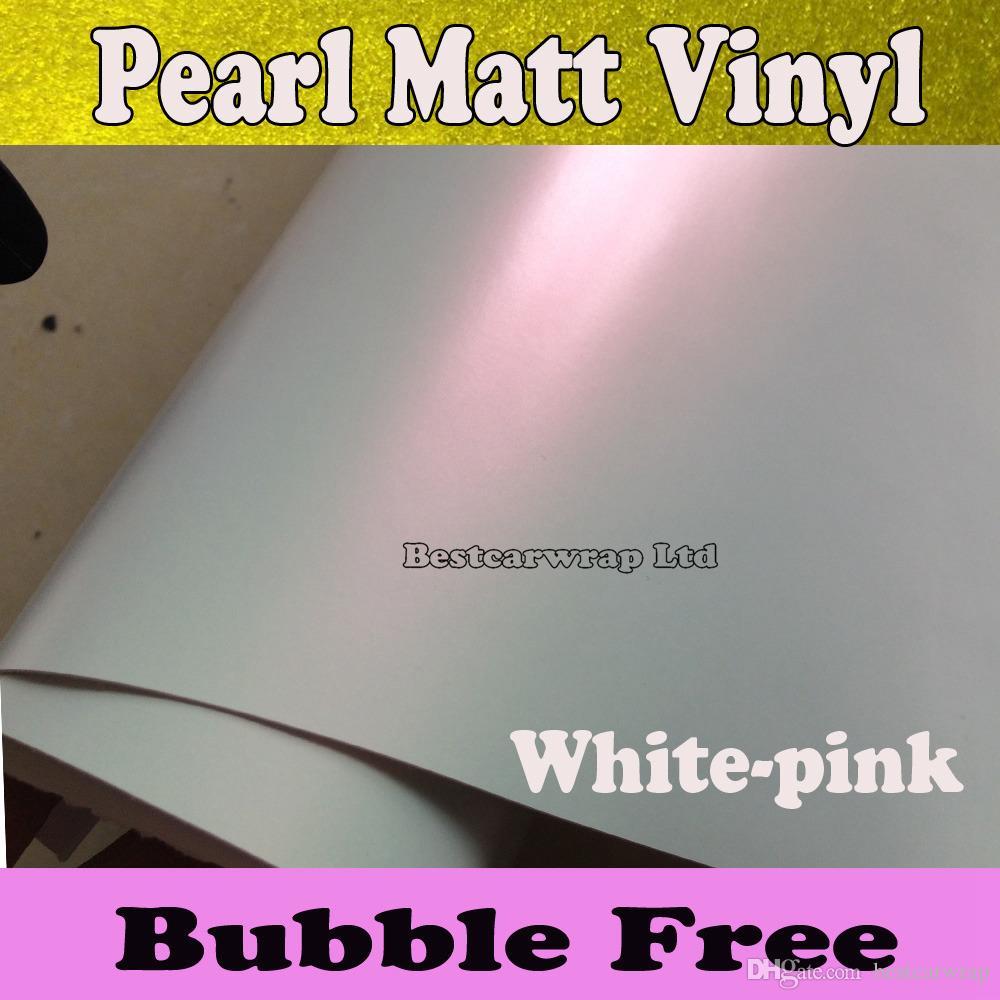 قسط لؤلؤة بيضاء مات الفينيل التفاف الأبيض الوردي بيرليسسينت أبيض لامع فيلم التفاف السيارة احباط ملصق الحجم: 1.52 * 20 متر / لفة (5x66ft