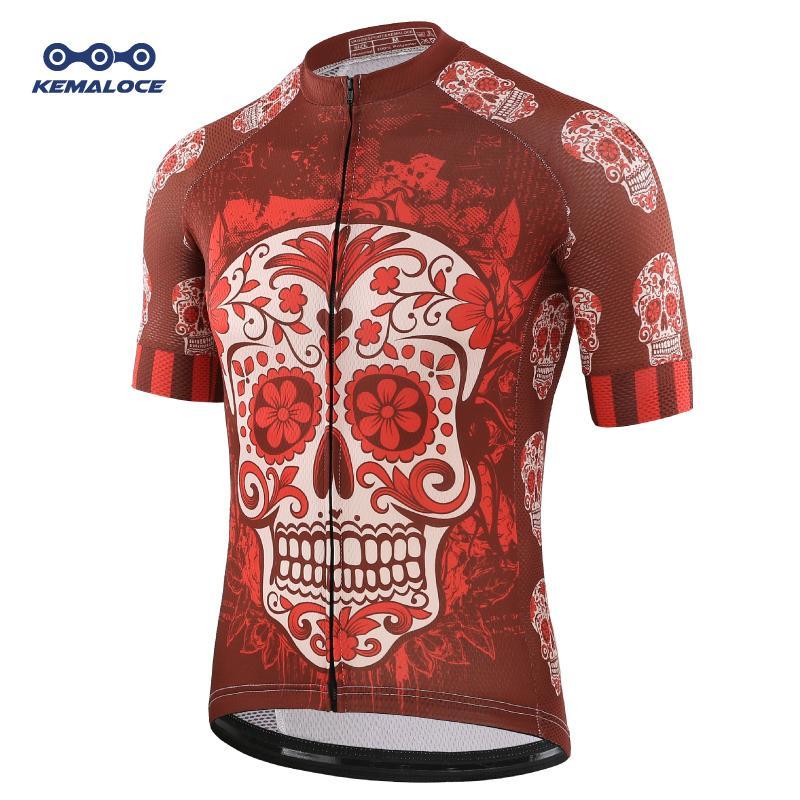 قميص الخصم فريد الأحمر الجمجمة ركوب الدراجات جيرسي الشباب الأزياء برو فريق دراجة رياضية ريترو الجدة الصين استوردت الرجال دراجات