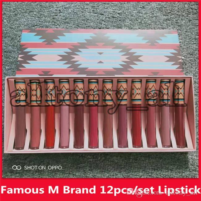 Célèbre M Marque maquillage mat 12 couleurs rouges à lèvres Rouge à lèvres Ne pas déteindre Lip Gloss mat naturel liquide rouge à lèvres longue durée