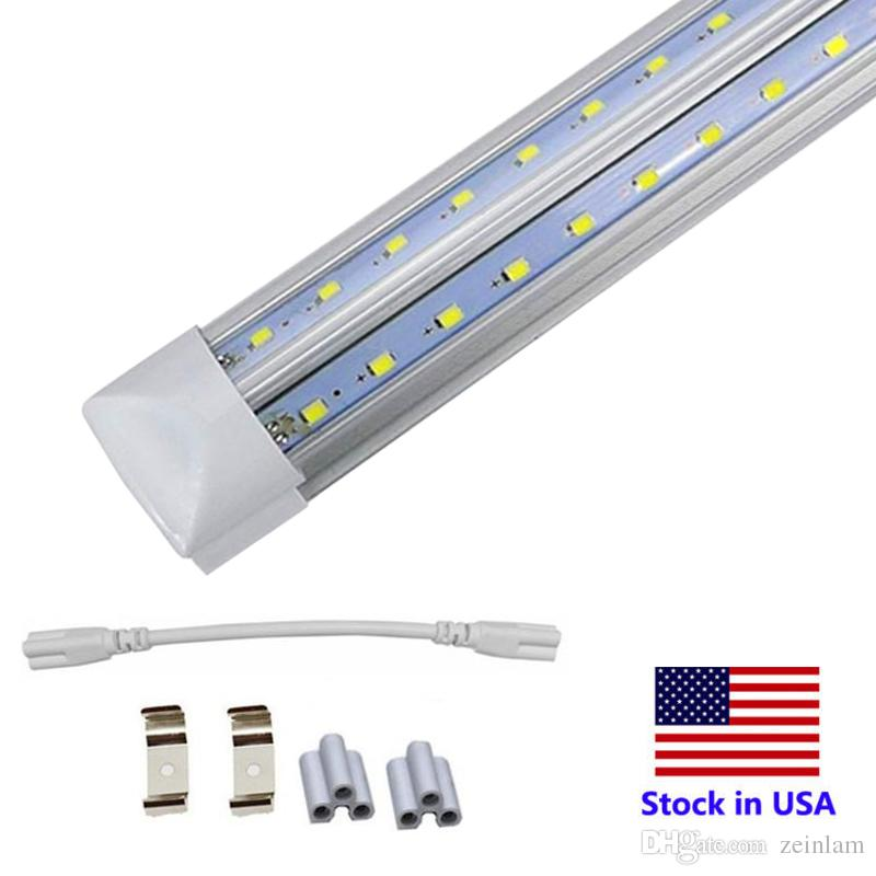 V-Shaped shop bulbs 4ft 5ft 6ft 8ft Cooler Door Led Tubes T8 Integrated Led Tubes Double Sides Led Lights 85-265V Stock In US