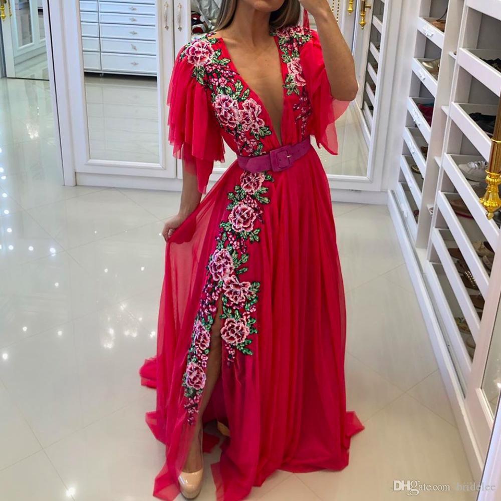 Broderie Robes de bal 2020 col en V profond Bretelle rouge en mousseline de soie côté Slit Robes de soirée robe de cérémonie Abendkeider robe de bal