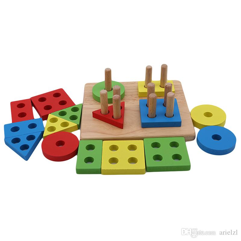 Baby Early education Toys Wooden Geometric shape Sorting Board Blocks Kids Educational Toys Building Blocks Child Gift