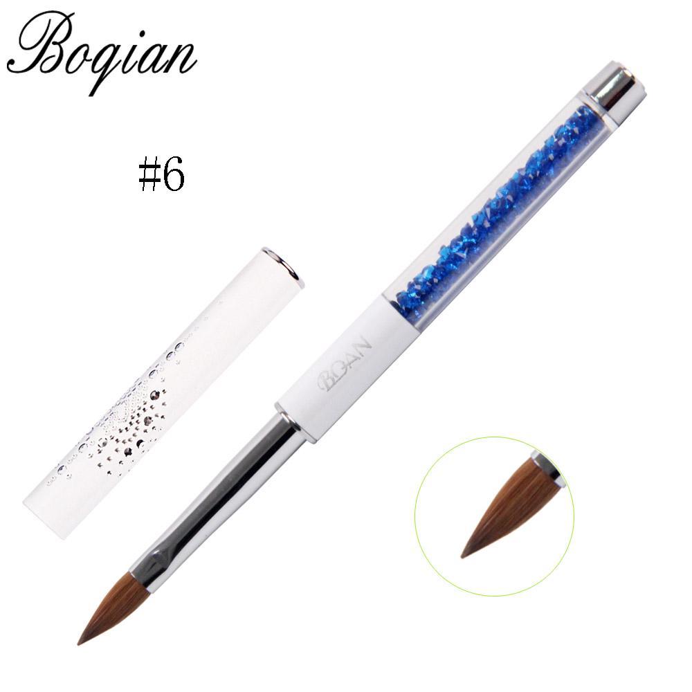 vente en gros professionnelle 1pcs ongles brosse art acrylique 100% kolinsky pinceau pinceau peinture 3d dessin pinceau # 6