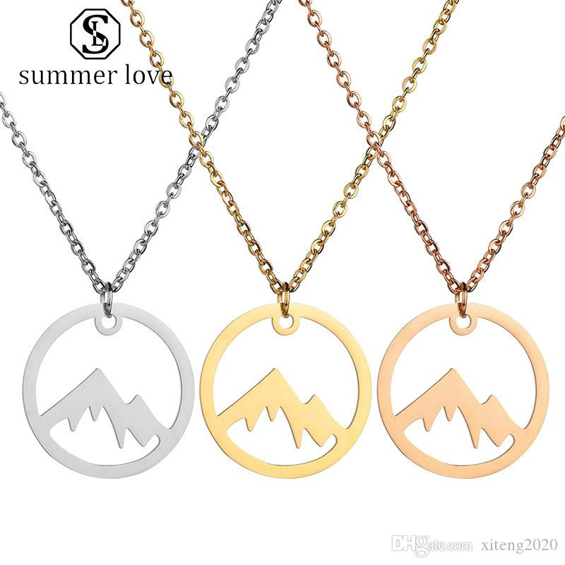 New Arrival Stainless Steel Necklaces Silver Gold Chain For Women Men 3 Colors Mountains Pendent Necklace Simple Jewelry Gift Wholesale-Y