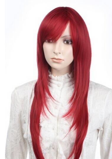 ENVÍO GRATIS + Lolita rojo Pelucas llenas del pelo de las mujeres Cosplay Peluca de fiesta Nuevo