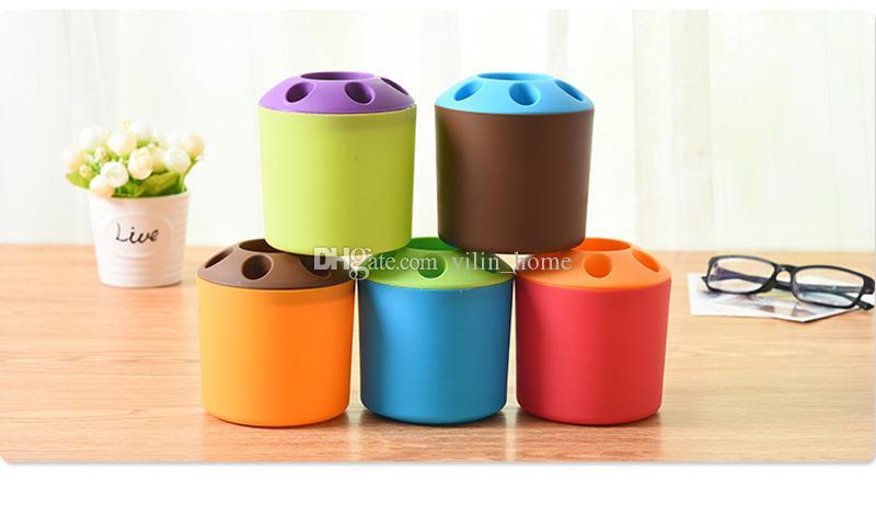 간단한 치약 서 플라스틱 칫 솔 홀더 홈 욕실 용품에 대 한 회사 튼튼한 스토리지 랙 6 색 사용할 수