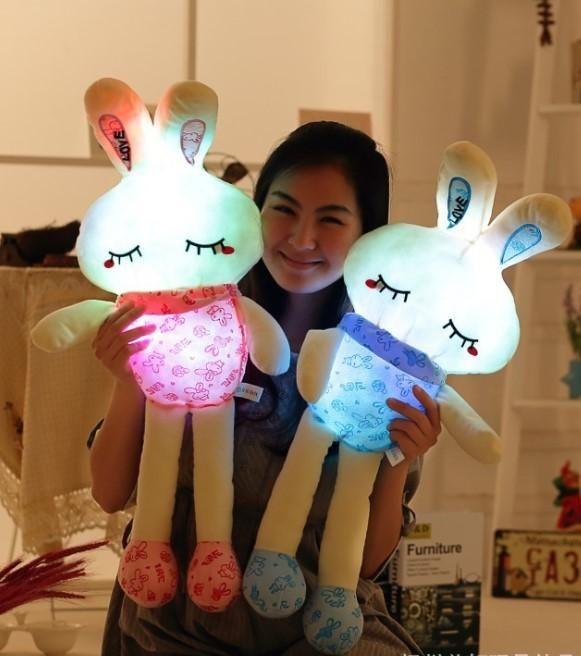 Funny 75cm pretty shinning rabbit Stuffed Dolls LED Light Popular Plush Toy for Kids shinning gift stuff music toys