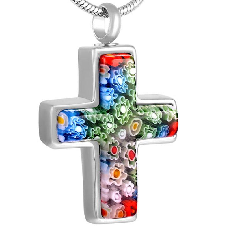 Coloré croix Pendentif en verre de Murano collier pour femmes élégant charme de bijoux Ashes souvenir souvenir Médaillon couleur personnalisée