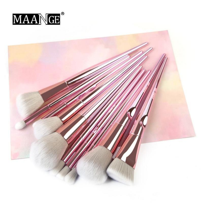 أعلى البائع maange 10PCS ماكياج فرش مجموعة الأساس مسحوق أحمر الخدود أدوات فرشاة التجميل
