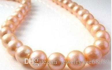"9-10MM PINK ROUND SOUTH SEA PEARL NECKLACE 17"" Factory Wholesale price Women Gift word Jewelry"
