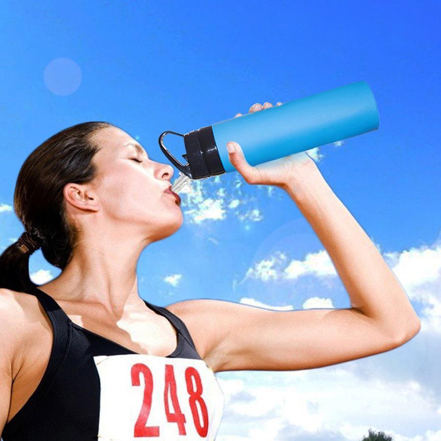 600ml Yaratıcı Binme Katlanabilir Su Şişeleri Doğa Sporları Straw VT0760-1 ile Portatif Katlanabilir Food Grade Silikon Su Bardaklar