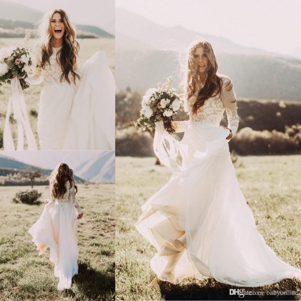 Cheap Bohemian Beach Lace Wedding Dresses With Sheer Long Sleeves Bateau Neck A Line Appliqued Chiffon Boho Bridal Gowns