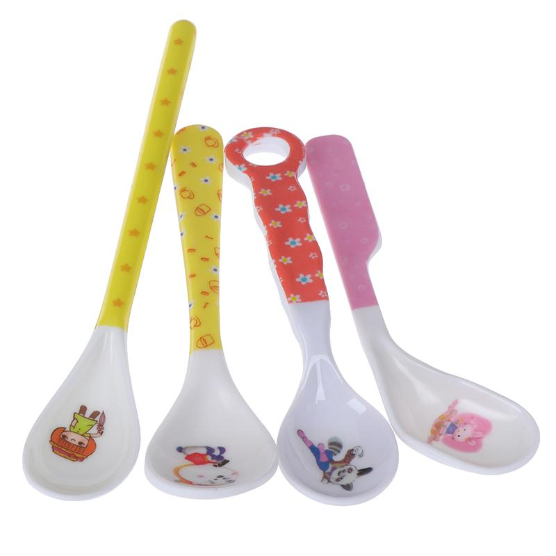 Cuillère bébé alimentation formation enfants bébé enfant en bas âge Scoop Couverts Vaisselle nourriture Bend tête recourbée Ustensiles pour enfants Apprentissage Supplie