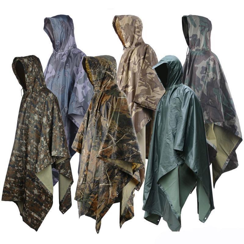 في سوق الأسهم قابلة لإعادة الاستخدام قابل للغسل للجنسين كامو معطف واق من المطر ماء سميكة معطف المطر للنساء رجال CS التخييم ماء FY4062 ملابس ضد المطر
