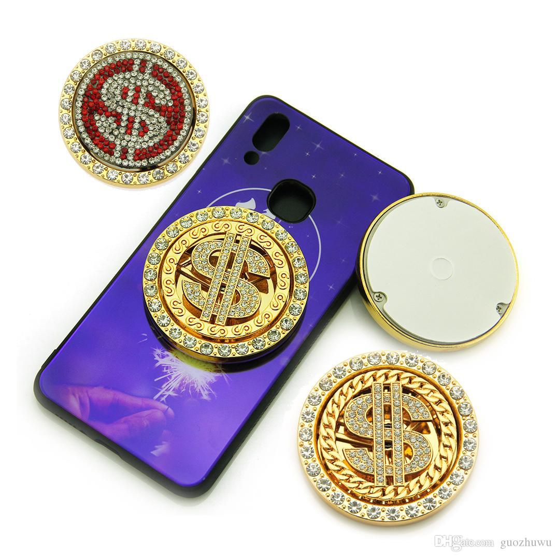 새로운 패션 미국 달러 로그인 라운드 금속 회전 휴대 전화 케이스 장식 스티커 액세서리 힙합 블링 다이아몬드 모바일 케이스 장식