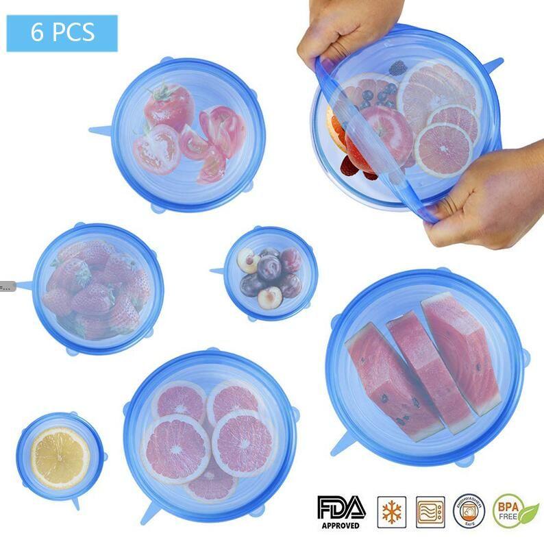 6PCS / مجموعة سيليكون تمتد أغطية قابلة لإعادة الاستخدام محكم الغذاء التفاف الأغطية حفظ الطازجة ختم السلطانية بسط التفاف الغلاف مطبخ طهي 4 ألوان