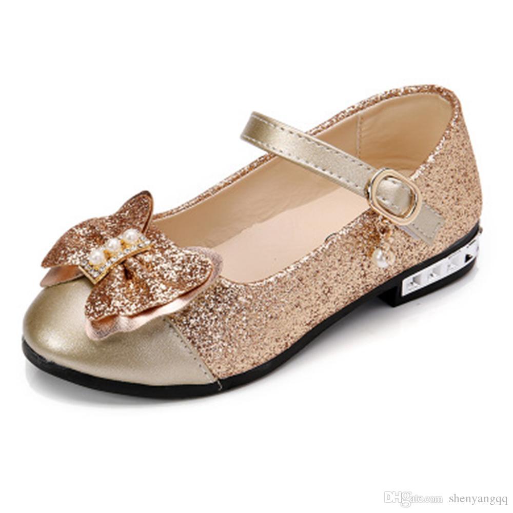 Kızlar çocuklar Parti Ayakkabı Pembe / Gül Kırmızı / Altın Glitter Okulu Ayakkabı için Düğün Pullarda Prenses Ayakkabılar Çiçek Kız Ayakkabı