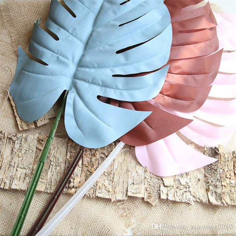 웨딩 홈 장식 인공 식물에 대한 가짜 단일 잎 몬스 테라 시뮬레이션 빅 사이즈 거북이 잎 녹색 식물