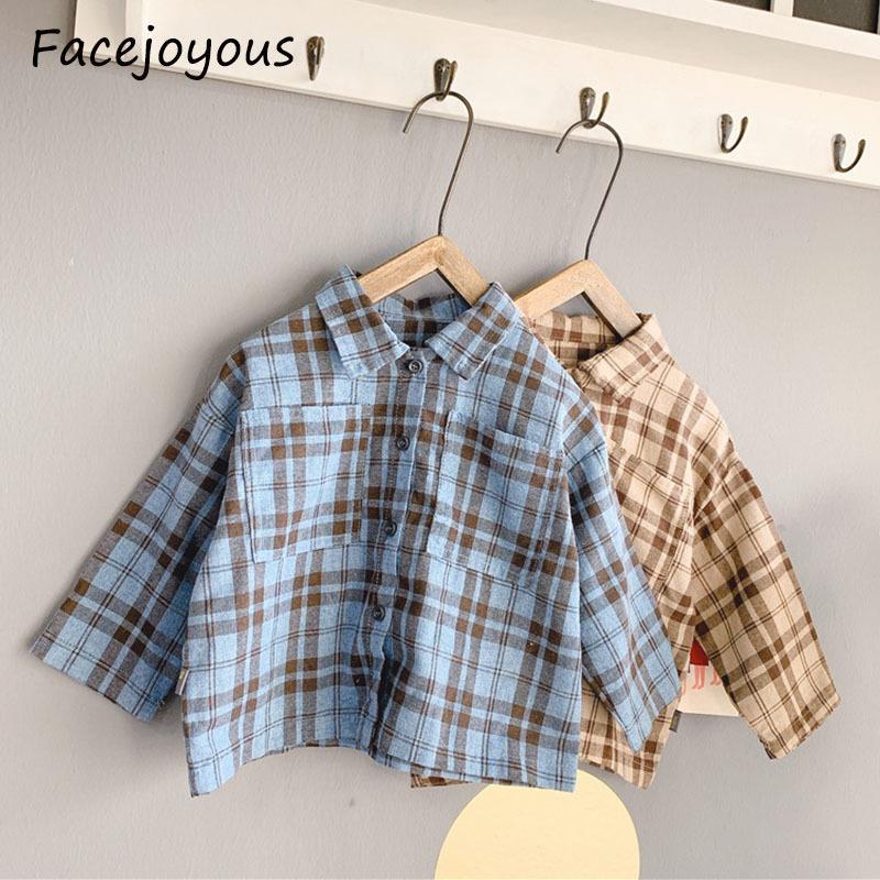 2020 Весна Дети плед рубашки малышей девочек Повседневной мода Блуза младенец с длинным рукавом Футболки Топы Baby Boy Одежда T200511