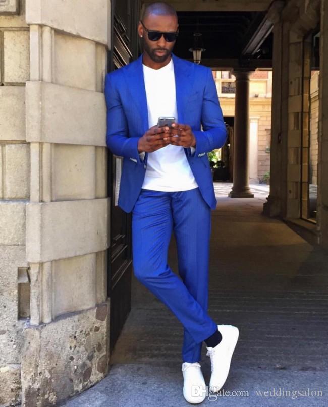 Royal Blue Slim Fit Trajes de baile para hombre Trajes de boda con solapa de pico para hombres Esmoquin de padrino de boda Dos piezas Un botón Blazers Chaqueta + Pantalones