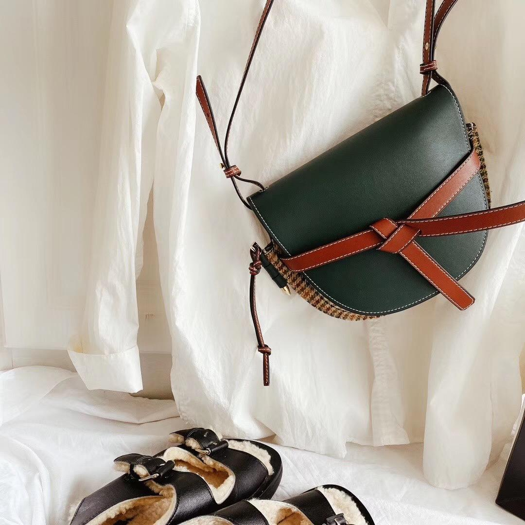Hombro del diseñador bolsa de sillín Bolsas Decoración arco de la manera textura // CFY2002263