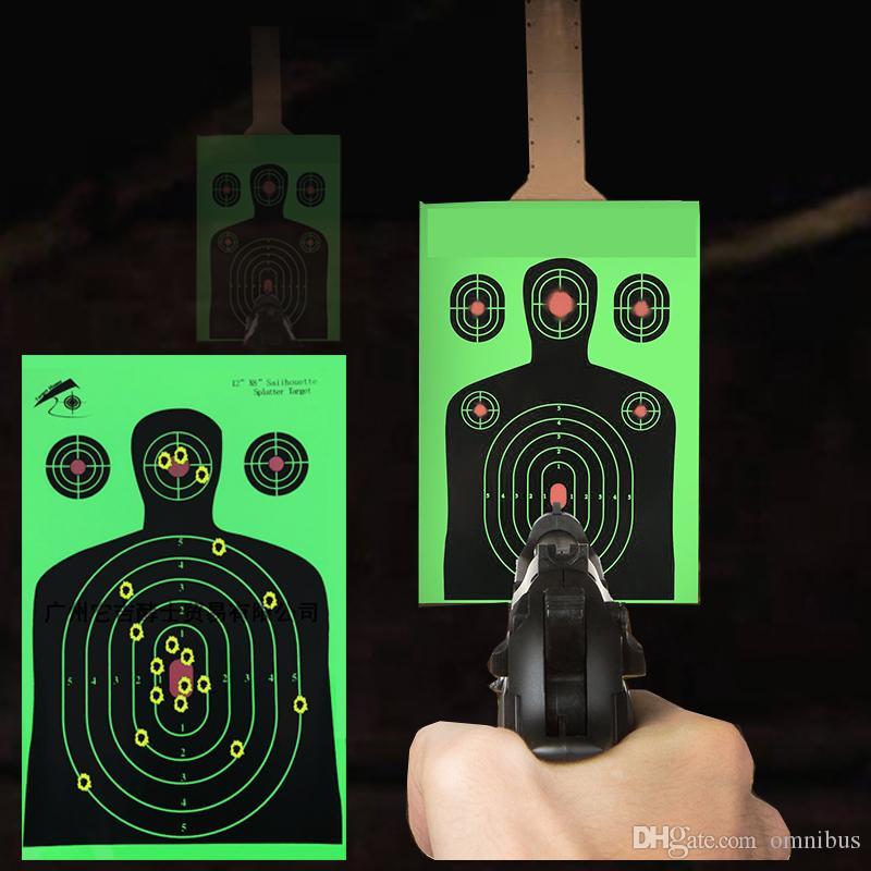 """12 """"x 18"""" Floresan Yeşil Hedef Atış Siluet Sıçramak Reaktif Silah veya Okçuluk Atış için Hedef Kağıt Hedefleri"""