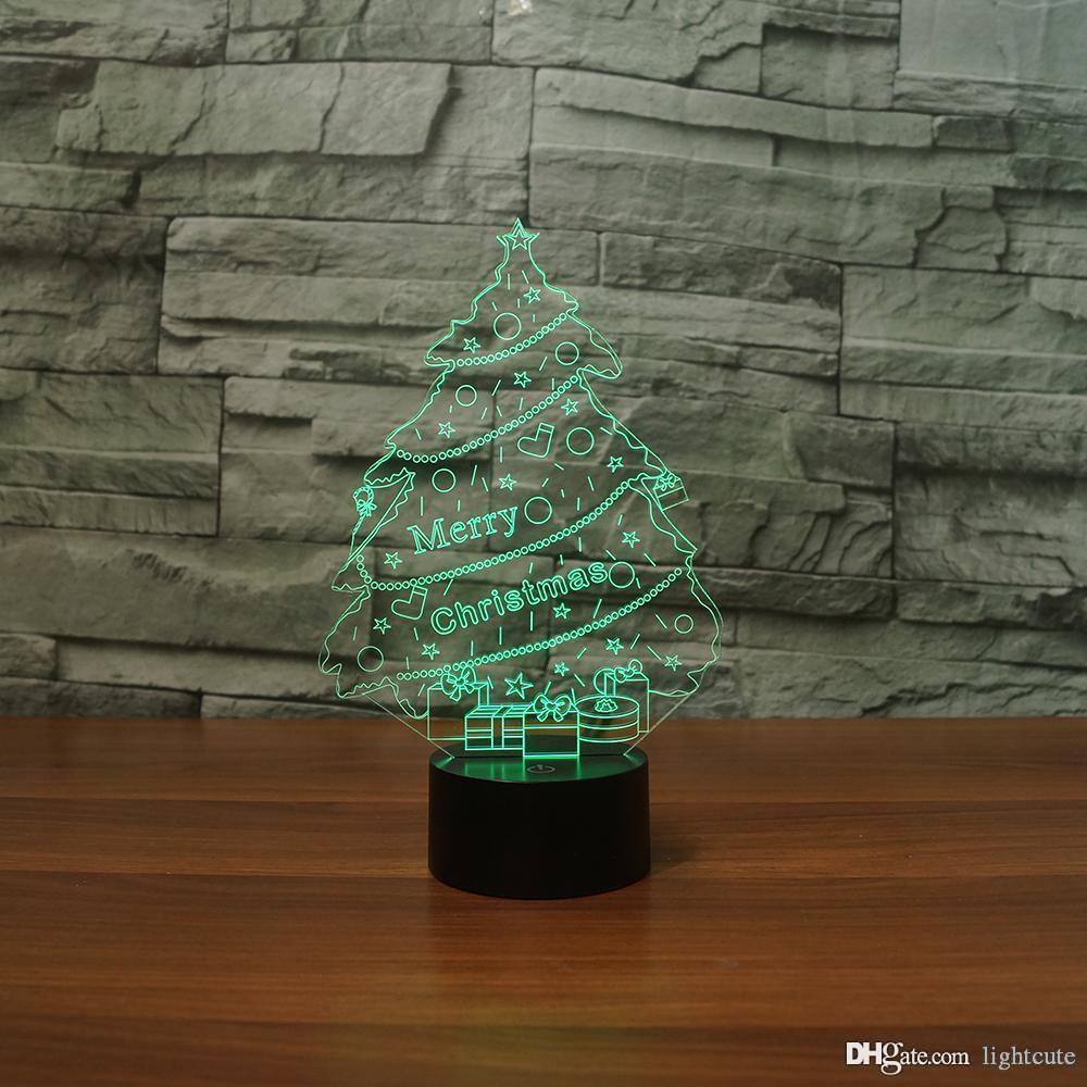 Arbre de Noël chanceux 3D Illusion Nuit Light Touch 7 Changer la couleur Home Décor bébé garçon lampe LED enfants Cadeau de Noël Cadeau de Noël