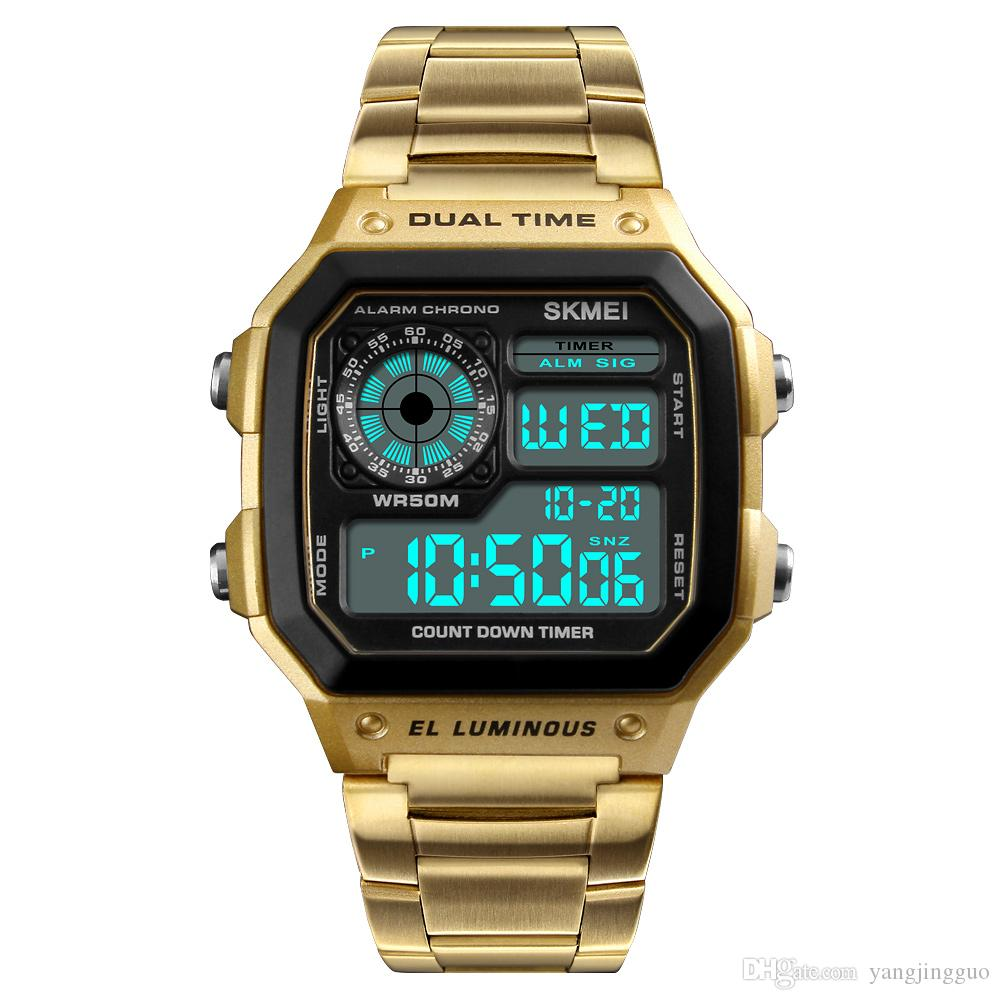 Skmei moment beauty fashion men's business table hot style outdoor sports personality square digital display electric watch 4 colors optiona