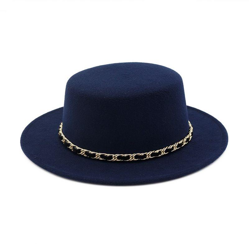 Nouveau Laine Femmes Canotier Top Hat Flat large Brim feutre Fedora Chapeau avec la chaîne de dames Feltro Bowler Gambler Top Hat