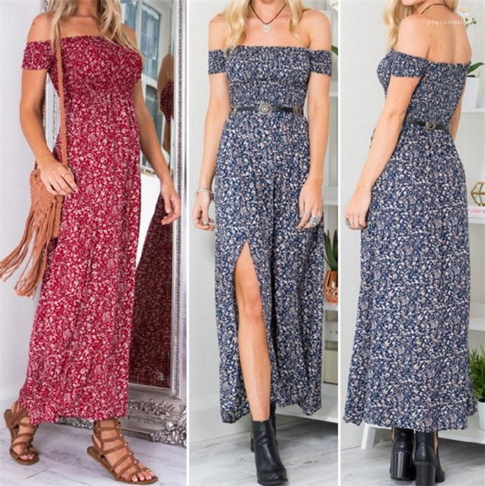 Chest Split Womens Long Dress Summer Fashion Casual Asymmetrical Womens Clothing Sexy Flora Printed Strapless Dresses Wrap