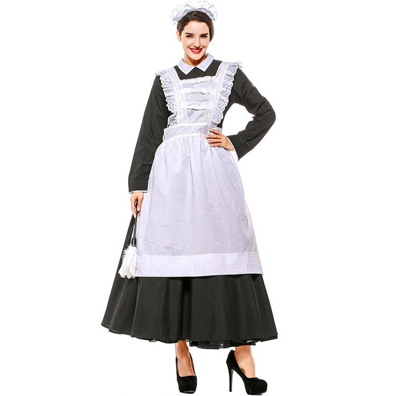Adult Victorian Maid Poor Peasant Servant Fancy Dress French Wench Manor Maid Costume Outfit
