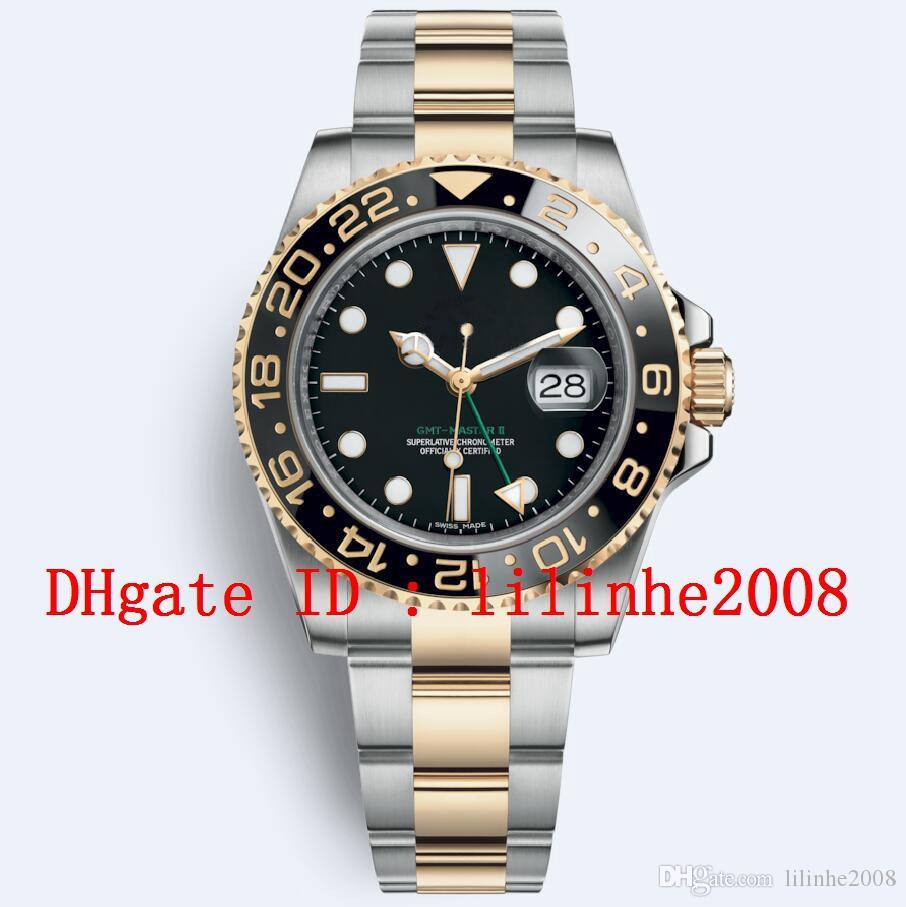 Relógio dos homens GMT II Dial 126711 126710 116718 Aparelhos Ceramic 18K amarelo cinta de aço ouro Data esportivo Preto Mens Relógios