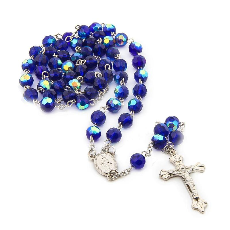 QIGO Long Crystal Rosary Necklace Virgin Jesus Christ Long Cross Necklace Religious Jewelry Gifts