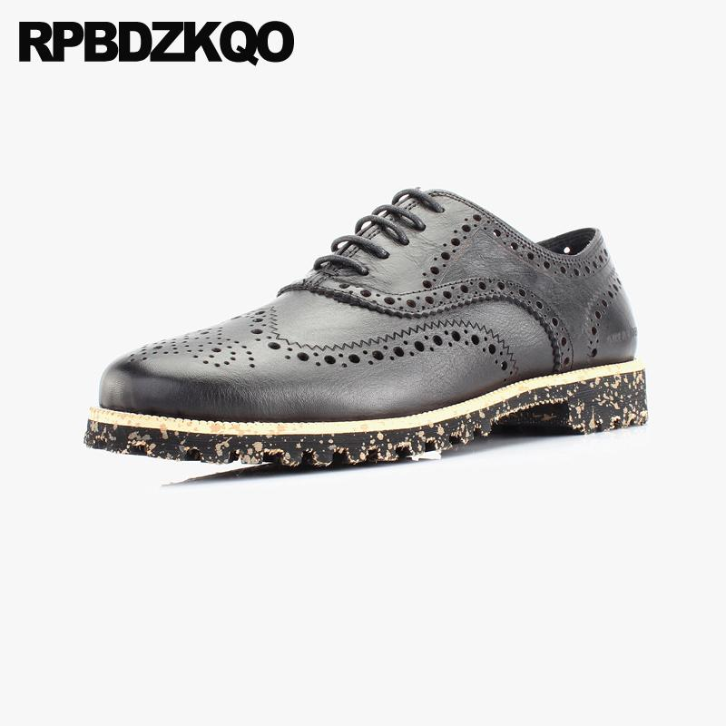 men dress italian leather shoes Italy real high quality formal black brogue casual large size oxfords china 11 genuine