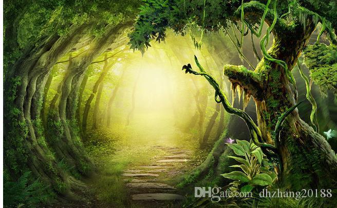 3D фантазии леса след ТВ фон обои настенная роспись 3D пейзаж обои