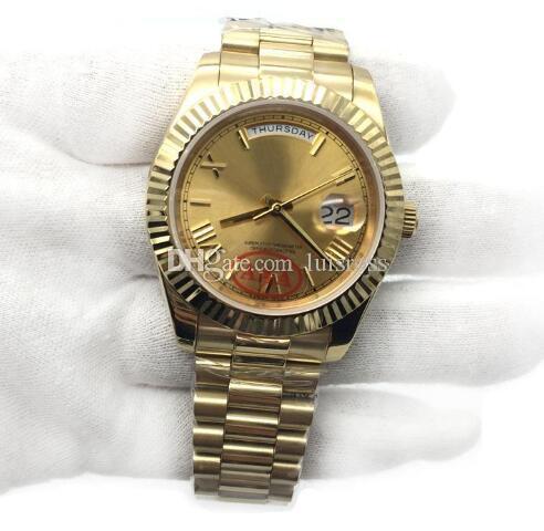 حركة السعر الترويج جديد 18K الذهب الرئيس DayDate الياقوت سيستال جنيف ساعات رجالية التلقائية الميكانيكية ذكر فاخرة ساعات المعصم