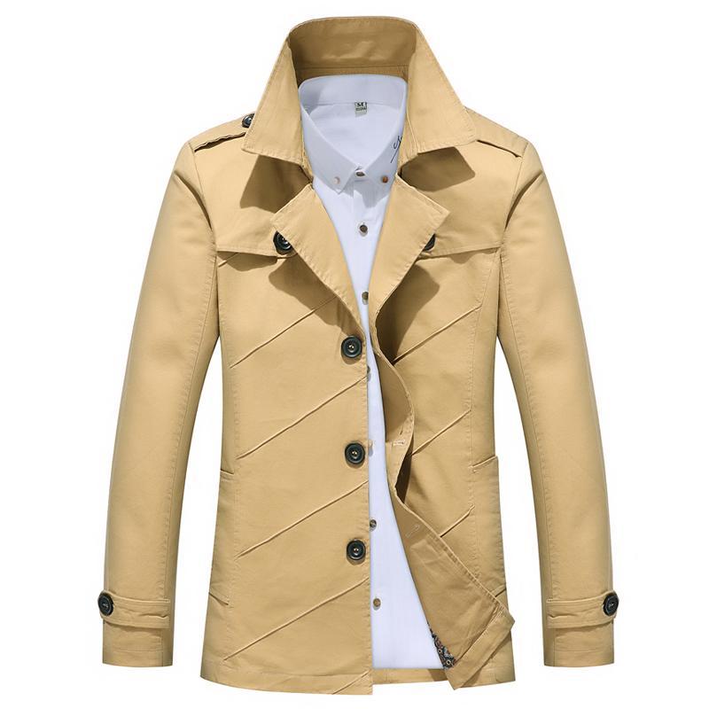 Veste longue trench-coat pour hommes trench-coat plissé col tailleur pour hommes veste de lavage de haute qualité slim