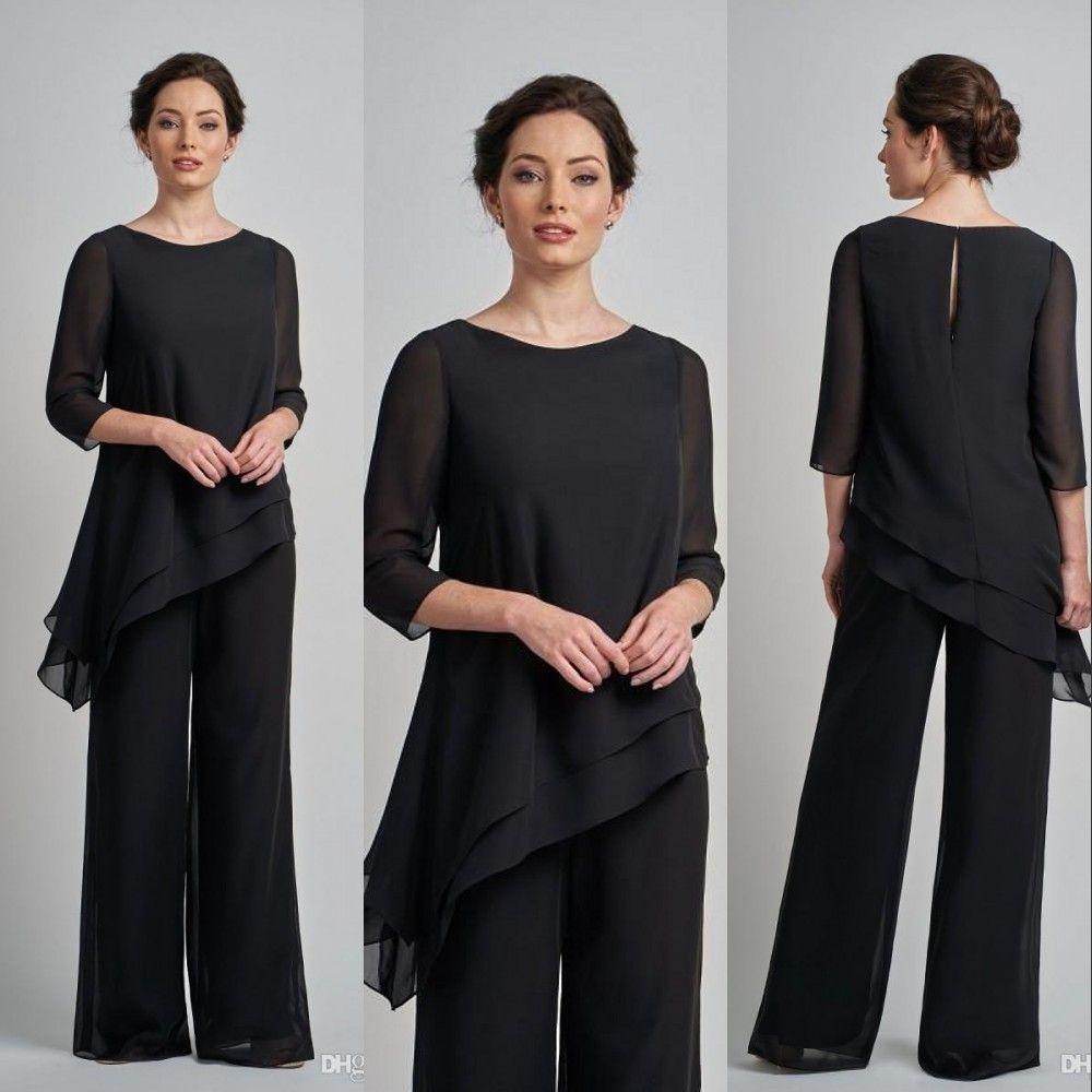 신부 바지 정장 두 조각의 저렴한 새로운 블랙 어머니 플러스 사이즈 쉬폰 보석 목 긴 소매 플러스 사이즈 웨딩 게스트 드레스 어머니 드레스