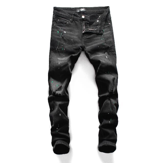 Men jeans AMIRI brand jeans mens casual hole shorts washed old patch pants TOP quality embroidery denim pants feet pants man brand#MK85