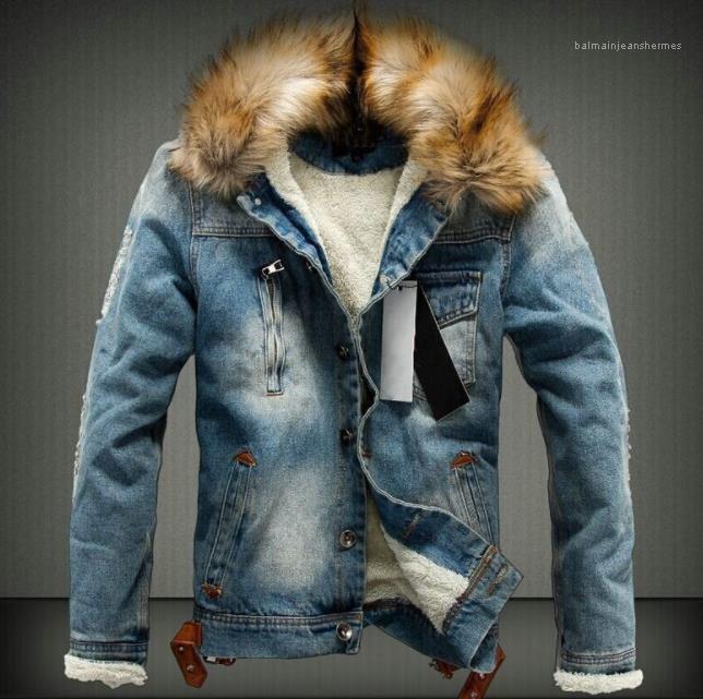 Jean Ceketler Sonbahar Kalın Kürk Tasarımcı Mont Uzun Kollu Tek Göğüslü Ceket Mens Yıkanmış Kış