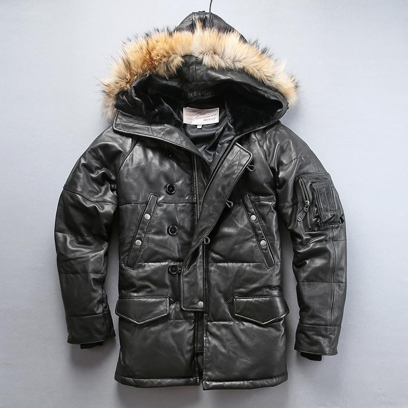 2019 روسيا في فصل الشتاء جلد طبيعي الرجال سترة الفراء والجلود مقنعين سترة أسفل أسفل الأميركية المتوسطة الرجال معطف